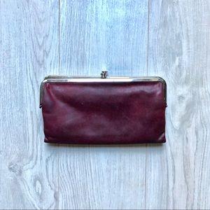 Handbags - Lauren Leather Eggplant Double Frame Clutch